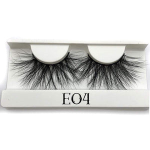 Oiko Store  E04 white tray Mikiwi 25mm False Eyelashes Wholesale Thick Strip 25mm 3D Mink Lashes Custom Packaging Label Makeup Dramatic Long Mink Lashes