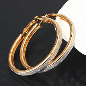 Oiko Store  e047Gold Simple fashion gold color Silver plated geometric big round earrings for women fashion big hollow drop earrings jewelry