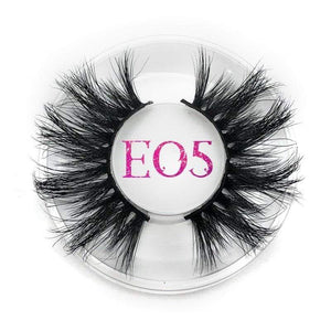 Oiko Store  E05 round case Mikiwi 25mm False Eyelashes Wholesale Thick Strip 25mm 3D Mink Lashes Custom Packaging Label Makeup Dramatic Long Mink Lashes