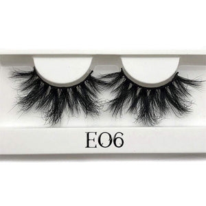 Oiko Store  E06 white tray Mikiwi 25mm False Eyelashes Wholesale Thick Strip 25mm 3D Mink Lashes Custom Packaging Label Makeup Dramatic Long Mink Lashes