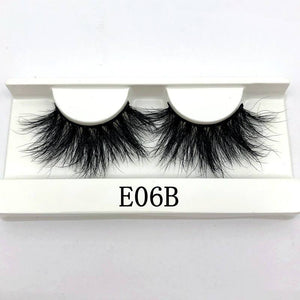 Oiko Store  E06B white tray Mikiwi 25mm False Eyelashes Wholesale Thick Strip 25mm 3D Mink Lashes Custom Packaging Label Makeup Dramatic Long Mink Lashes