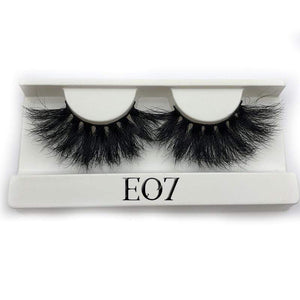 Oiko Store  E07 white tray Mikiwi 25mm False Eyelashes Wholesale Thick Strip 25mm 3D Mink Lashes Custom Packaging Label Makeup Dramatic Long Mink Lashes