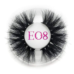 Oiko Store  E08 round case Mikiwi 25mm False Eyelashes Wholesale Thick Strip 25mm 3D Mink Lashes Custom Packaging Label Makeup Dramatic Long Mink Lashes