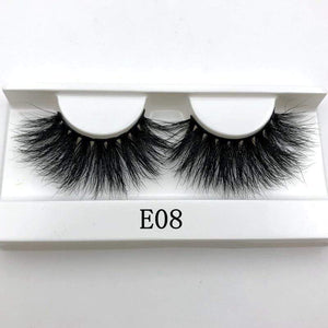 Oiko Store  E08 white tray Mikiwi 25mm False Eyelashes Wholesale Thick Strip 25mm 3D Mink Lashes Custom Packaging Label Makeup Dramatic Long Mink Lashes