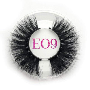 Oiko Store  E09 round case Mikiwi 25mm False Eyelashes Wholesale Thick Strip 25mm 3D Mink Lashes Custom Packaging Label Makeup Dramatic Long Mink Lashes