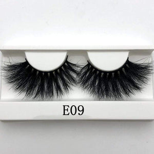 Oiko Store  E09 white tray Mikiwi 25mm False Eyelashes Wholesale Thick Strip 25mm 3D Mink Lashes Custom Packaging Label Makeup Dramatic Long Mink Lashes