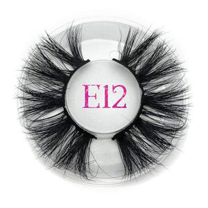 Oiko Store  E12 round case Mikiwi 25mm False Eyelashes Wholesale Thick Strip 25mm 3D Mink Lashes Custom Packaging Label Makeup Dramatic Long Mink Lashes