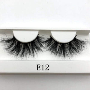Oiko Store  E12 white tray Mikiwi 25mm False Eyelashes Wholesale Thick Strip 25mm 3D Mink Lashes Custom Packaging Label Makeup Dramatic Long Mink Lashes