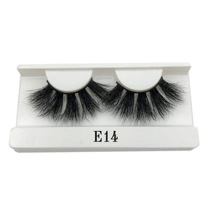 Oiko Store  E14 white tray Mikiwi 25mm False Eyelashes Wholesale Thick Strip 25mm 3D Mink Lashes Custom Packaging Label Makeup Dramatic Long Mink Lashes