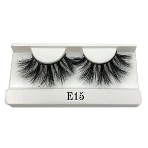 Oiko Store  E15 white tray Mikiwi 25mm False Eyelashes Wholesale Thick Strip 25mm 3D Mink Lashes Custom Packaging Label Makeup Dramatic Long Mink Lashes