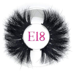 Oiko Store  E18 round case Mikiwi 25mm False Eyelashes Wholesale Thick Strip 25mm 3D Mink Lashes Custom Packaging Label Makeup Dramatic Long Mink Lashes