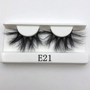 Oiko Store  E21 white tray Mikiwi 25mm False Eyelashes Wholesale Thick Strip 25mm 3D Mink Lashes Custom Packaging Label Makeup Dramatic Long Mink Lashes