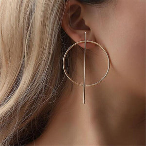 Oiko Store  ez17jin Simple fashion gold color Silver plated geometric big round earrings for women fashion big hollow drop earrings jewelry
