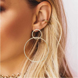Oiko Store  ez39jin Simple fashion gold color Silver plated geometric big round earrings for women fashion big hollow drop earrings jewelry
