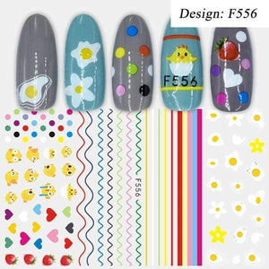 Oiko Store  F556 1pcs 3D Nail Slider Black Russia Letter Sticker Decals  Flamingo Design Adhesive Manicure Tips Nail Art Decorations CHF554-563
