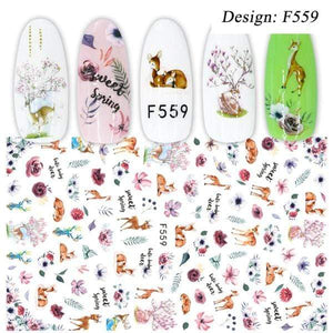Oiko Store  F559 1pcs 3D Nail Slider Black Russia Letter Sticker Decals  Flamingo Design Adhesive Manicure Tips Nail Art Decorations CHF554-563