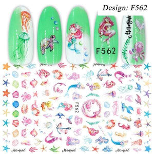 Oiko Store  F562 1pcs 3D Nail Slider Black Russia Letter Sticker Decals  Flamingo Design Adhesive Manicure Tips Nail Art Decorations CHF554-563