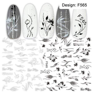 Oiko Store  F565 1pcs 3D Nail Slider Black Russia Letter Sticker Decals  Flamingo Design Adhesive Manicure Tips Nail Art Decorations CHF554-563