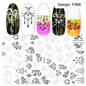 Oiko Store  F566 1pcs 3D Nail Slider Black Russia Letter Sticker Decals  Flamingo Design Adhesive Manicure Tips Nail Art Decorations CHF554-563