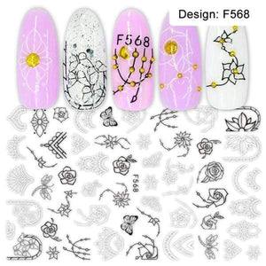 Oiko Store  F568 1pcs 3D Nail Slider Black Russia Letter Sticker Decals  Flamingo Design Adhesive Manicure Tips Nail Art Decorations CHF554-563