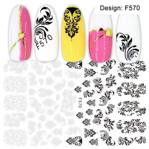 Oiko Store  F570 1pcs 3D Nail Slider Black Russia Letter Sticker Decals  Flamingo Design Adhesive Manicure Tips Nail Art Decorations CHF554-563