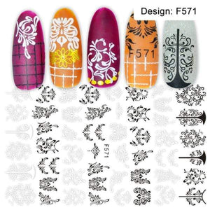 Oiko Store  F571 1pcs 3D Nail Slider Black Russia Letter Sticker Decals  Flamingo Design Adhesive Manicure Tips Nail Art Decorations CHF554-563