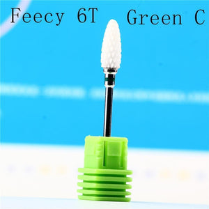 Oiko Store  Feecy 6T green C Milling Cutter For Manicure Ceramic Mill Manicure Machine Set Cutter For Pedicure Electric Nail Files Nail Drill Bit Feecy