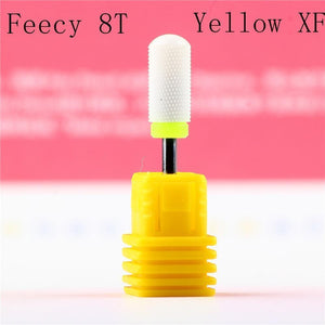Oiko Store  Feecy 8T yellow XF Milling Cutter For Manicure Ceramic Mill Manicure Machine Set Cutter For Pedicure Electric Nail Files Nail Drill Bit Feecy