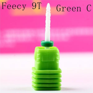 Oiko Store  Feecy 9T green C Milling Cutter For Manicure Ceramic Mill Manicure Machine Set Cutter For Pedicure Electric Nail Files Nail Drill Bit Feecy