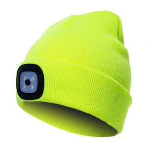 Oiko Store  Fluorescent Green Unisex Outdoor Cycling Hiking LED Light Knitted Hat Winter Elastic Beanie Cap