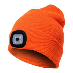 Oiko Store  Fluorescent Yellow Unisex Outdoor Cycling Hiking LED Light Knitted Hat Winter Elastic Beanie Cap