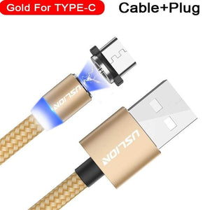 Oiko Store  For Type C Gold / 1m USLION Magnetic Micro USB Cable Fast Charging USB Type C Cable Magnet Charger Data Charge Cable Cord For Iphone 7 Samsung Xiaomi