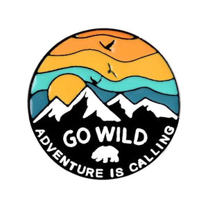 Oiko Store  go wild Outdoors Mountain Starry Night Enamel Pin Custom Wild Camping Hiking Brooches Bag Clothes Lapel Pin Adventure Badge Jewelry Gift