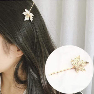 Oiko Store  Gold-1254 Hair Clip For Women Scissors Diamond Round Moon Leaf Unicorn Heart Simple Golden Silver Girl Fashion Gift Charm