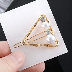 Oiko Store  Gold-200002984 Hair Clip For Women Scissors Diamond Round Moon Leaf Unicorn Heart Simple Golden Silver Girl Fashion Gift Charm