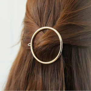 Oiko Store  Gold-200004891 Hair Clip For Women Scissors Diamond Round Moon Leaf Unicorn Heart Simple Golden Silver Girl Fashion Gift Charm