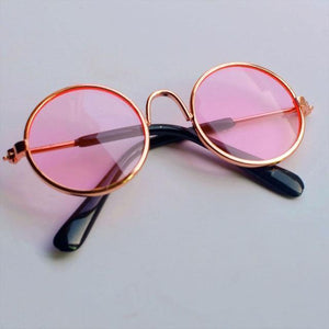 Oiko Store  Gold Frame Pink Pet Sunglasses Dog Eye-wear Cat Glasses Little Dog Glasses Photos Props Dog Cat Accessories Pet Supplies For Small Dogs Products