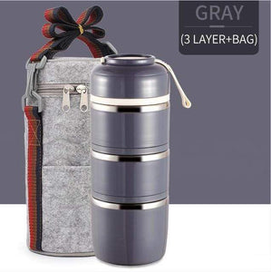 Oiko Store  Gray 3 With Bag FOODYBOX - LIMITED EDITION LUNCH BOX