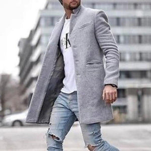 Oiko Store  Gray / M Autumn Fashion Thin Wool Coat Men Plus Size Spring 2020 Outwear Black Warm Men's Long Blazer Coats Office Overcoat Coats 4XL