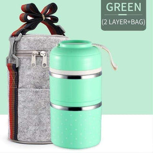 Oiko Store  Green 2 With Bag FOODYBOX - LIMITED EDITION LUNCH BOX
