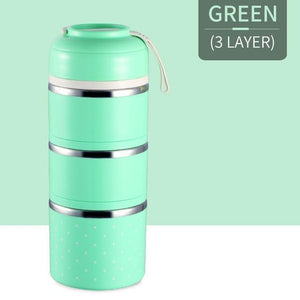 Oiko Store  Green 3 Layer FOODYBOX - LIMITED EDITION LUNCH BOX