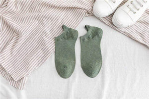 Oiko Store  Green Kawaii Embroidered Expression Women Socks Cotton Harajuku Happy Funny Socks Women Christmas Gifts Ankle 1 Pair Size 35-40