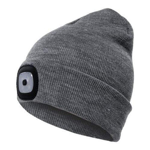 Oiko Store  Grey Unisex Outdoor Cycling Hiking LED Light Knitted Hat Winter Elastic Beanie Cap