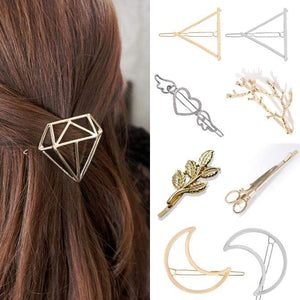 Oiko Store  Hair Clip For Women Scissors Diamond Round Moon Leaf Unicorn Heart Simple Golden Silver Girl Fashion Gift Charm