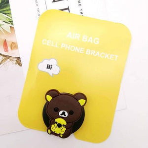Oiko Store  happybear head Wholesale Socket Universal Mobile Phone Stretch Bracket Cartoon Air Bag Phone Expanding Phone Stand Finger Car Phone Holder