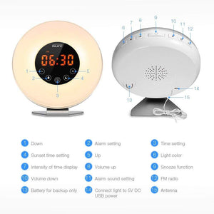 Oiko Store  Inlife Wake-Up Light Alarm Clocks With FM Radio Time Display Touch Mode LED Time Display Snooze Function Night Light RGB Color