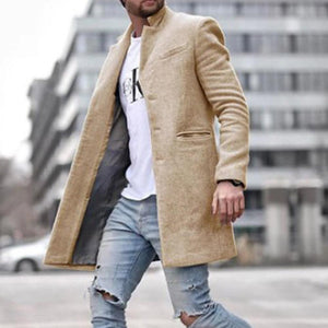 Oiko Store  Khaki / M Autumn Fashion Thin Wool Coat Men Plus Size Spring 2020 Outwear Black Warm Men's Long Blazer Coats Office Overcoat Coats 4XL