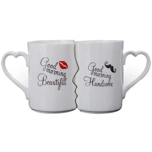 Oiko Store  Kissing His and Her Porcelain Coffee Mug Funny Ceramic Couple Mugs for Bride and Groom Anniversary Wedding Valentine's Day Gifts