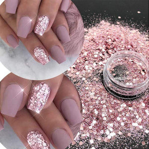 Oiko Store  KM GLITTER Top Popular Best Sales Chunky Mixed Fairy Face Body Craft Rose Sequins Manicure Rose Gold Glitter for Nail Decoration