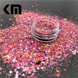 Oiko Store  Laser Dark Pink Mix KM GLITTER Top Popular Best Sales Chunky Mixed Fairy Face Body Craft Rose Sequins Manicure Rose Gold Glitter for Nail Decoration